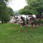 kitschy steer sculpture on font lawn