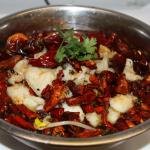Fish fillet with bean sprouts in chili oil
