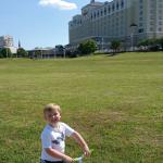 Our son riding his bike on the path around the hotel. Very low traffic and nice green area to pl