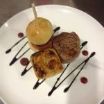 Trio of Scottish beef. Fillet steak, short crust steak pie & mini beef burger. Servers with home
