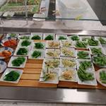 Sushi, fresh fruit, seafood salad and more.