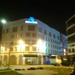 Night frontal view of the hotel