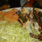 chicken/steak fajitas with rice.
