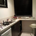 Ample kitchen, overlooks carpark