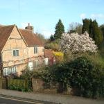 Milton's Cottage and garden with magnolia in fuill bloom