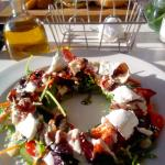 Bacon, beetroot, feta and pumpkin seed salad
