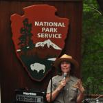 National Park Service Ranger introducing entertainers