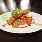 Teriyaki Salmon and Prawn Kebab