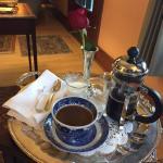 Coffee service in public area; pre-breakfast.