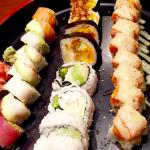 From left to right- Rainbow Roll, Allegheny Roll (top), McKnight Roll (bottom), Volcano Roll