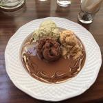 Ice-cream in molten milk chocolate