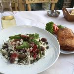 Cretan salad; filo wrapped pastrami and local cheese