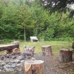 campfire and grill area next to creek