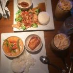 Red curry shrimp w rice & 2 tiny cracker shrimp app. Chicken Tamarind Chili w. 2 tiny coconut sh