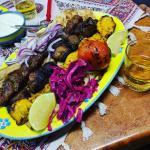 Mixed platter of shislik, koobideh, joojeh kebab
