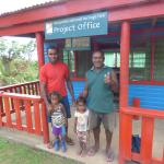 Tawake (left), Tawake's kids and Pau (right) at the Project Office