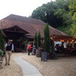 Blick auf die idyllische Terrasse in Mitten von Weinbergen