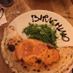 A calzone ordered at Birichino's with a special touch. Taking branding seriously and why not