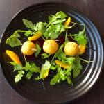 Goat cheese, beet and orange salad for a starter
