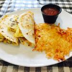 Breakfast tacos with a side of hash brown