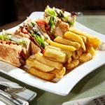 Club sandwich and chunky chips