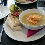 Delicious French Onion soup and wrap combo.  Fab.
