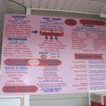 This is the ice cream menu