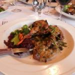 Honey-Dijon Grilled Twin Quails On Anjou Pear, Bacon & Walnut Compote with Grilled Sweet Potato
