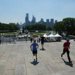 Running up the steps of the Art Museum (AKA The Rocky steps)