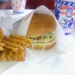 Shake Shoppe grilled chicken sandwich, waffle fries, and soda.