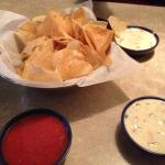 Complimentary chips and queso dip