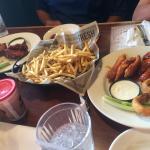 Garlic fries and sampler platter.