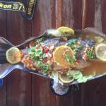 The steamed Sea Bass with chilli, garlic and lemon