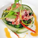 Lobster with pea shoots