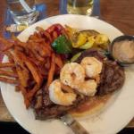 The Surf and Turf special with sweet potato fries. 8oz steak. Look at the grill lines!