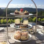 Delicious champagne afternoon tea on the terrace