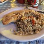 Lunch Serving of Fried Crawfish Pie and Dirty Rice