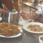 Chow mein, combination of rice, hot tea