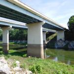 In 2014, the water level was close to the dark mark on the bridge support