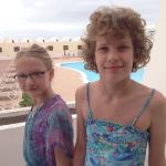 My girls on the balcony at sands beach