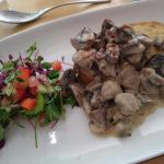 Starter of mushrooms on rarebit. Their lovely Sunday roast of beef.