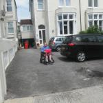 my Wife Carole in the carpark easy for wheelchair