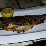 Sea bass is served whole