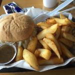 Italian beef sandwich and fries
