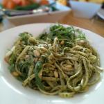 Linguini with pesto, pine nuts, parmesan cheese and rocket