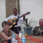 Food, drinks, fun and a Mexican Guitar player to even out our celebrating mood.