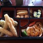 Movie box with chicken/vegetable tempura and chicken teryaki
