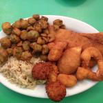 Combo Platter, lunch portion.  Fresh fish, scallops, shrimp, oysters, and deviled crab.  Less th