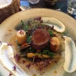 Venison with fondant potato, heritage carrots and spring greens (main)