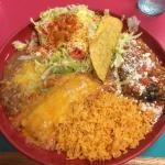 Combination plate with taco, chili relleno, rice, enchilada, beans, and tostada!